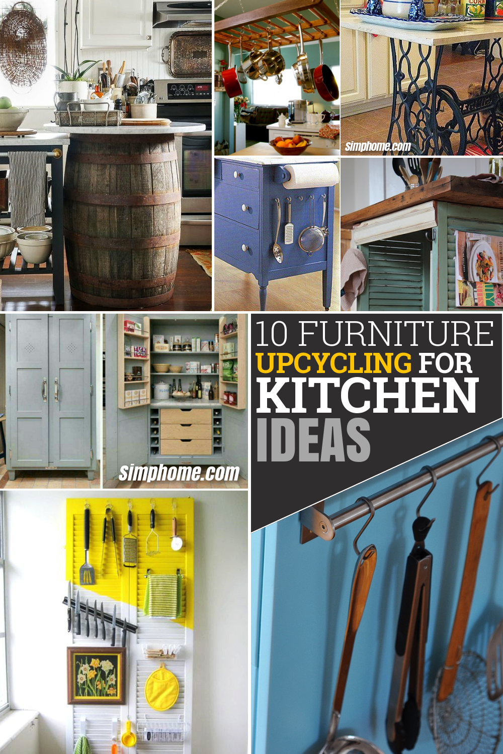 10 Furniture Upcycling for Kitchen ideas via Simphome.com Pinterest image