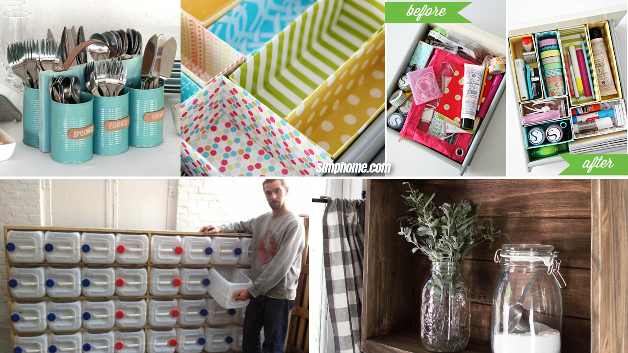 10 Storage Solution and Upcycling Ideas for Cheap via Simphome.com featured image